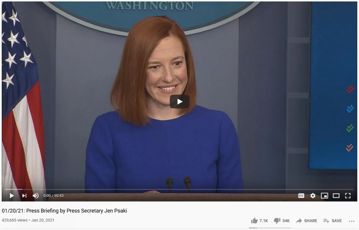 01/20/21: Press Briefing by Press Secretary Jen Psaki - YouTube